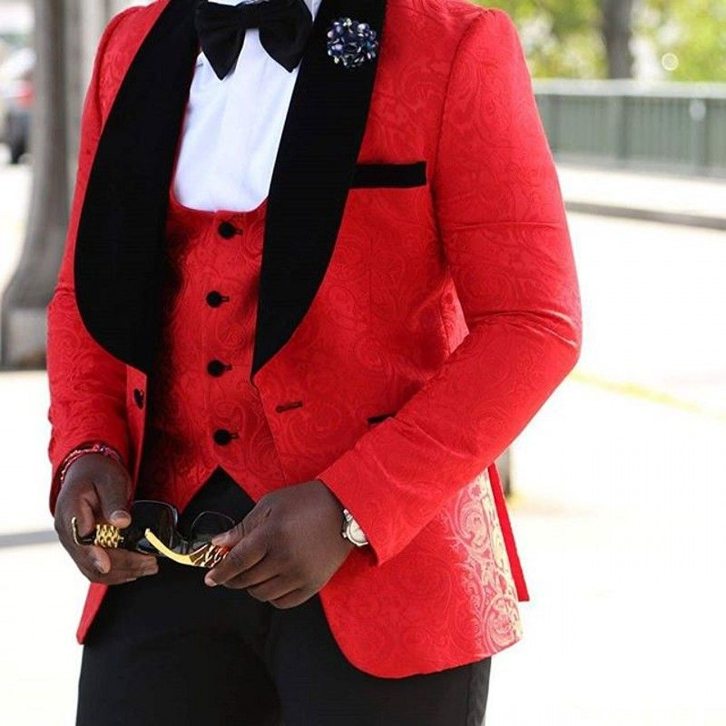 Brand New Groomsmen Shawl Lapel Groom Tuxedos Red/White/Black Men Suits Wedding Best Man Blazer (Jacket+Pants+Tie+Vest) C45