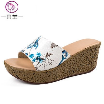 Genuine leather platform shoes new platform sandals  women sandals open toe summer wedge sandals women shoes