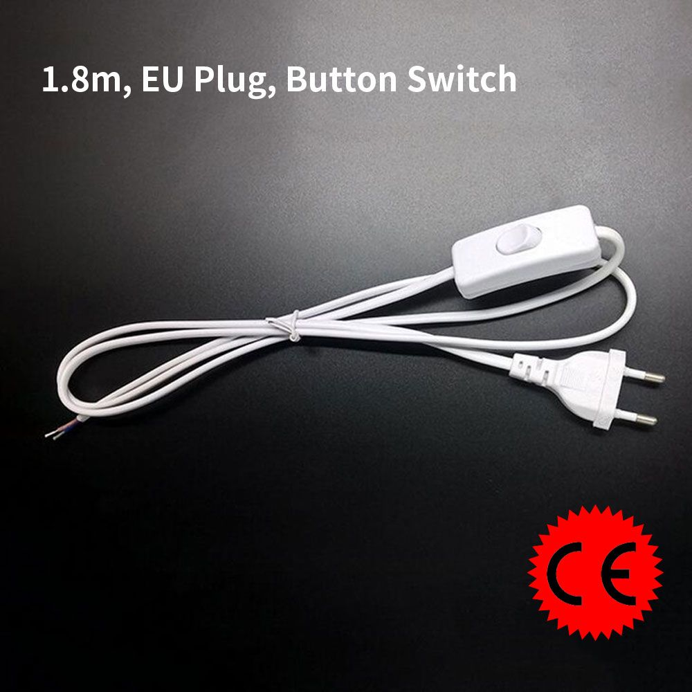 ASCELINA line Cable 1.8m On Off Power Cord For LED Lamp with Button switch switch EU Plug Light Switching White Wire Extension