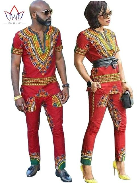 BRW Dashiki African Wax Print Clothes for Couple Plus Size African Batik Two Piece Set Crop Top with Pants Couple Clothing WYQ24