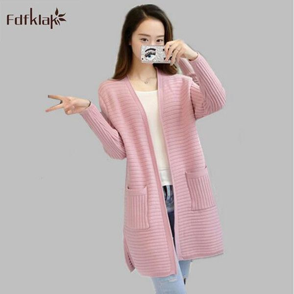 2017 Spring autumn cardigan female long wool sweater loose long-sleeve large size sweaters women kintted fashion pull femme A274
