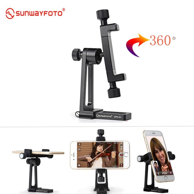 CPC-01 Mobile Phone Bracket Tripod Holder Bracket Mount Quick Release Plate 360 Degree Video Shooting for Facebook Live Stream