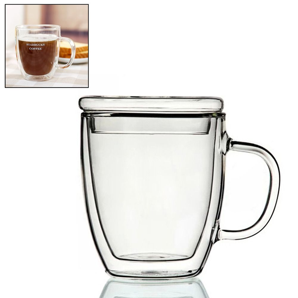 350ml Heat-resistant Mugs Handmade Healthy Coffee Mugs Double Wall Cups Glass Mugs Thermal Insulated Creative with Glass Lid