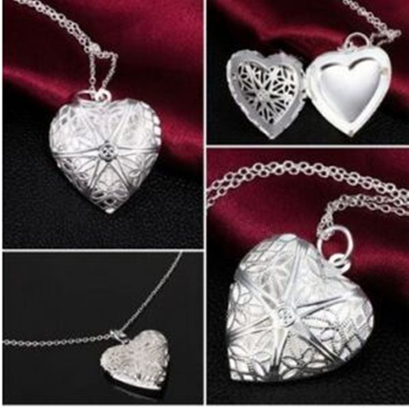2016 new fashion love heart-shaped necklace can play an open photo pierced woman through a small box with flower necklace