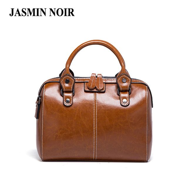 Real Cow Leather Ladies Women Genuine Leather Handbag Shoulder Bag High Quality Designer Luxury Brand Boston Crossbody Bag Totes