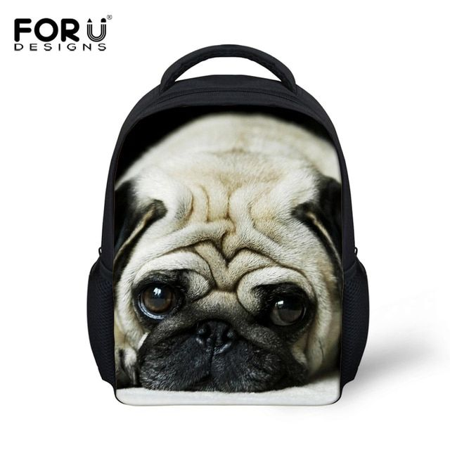 FORUDESIGNS Kids Backpack 3D Pug Dog Animal Mini Back Pack For Children Boys Kindergarten Baby Student Schoolbag Mochila Infatil