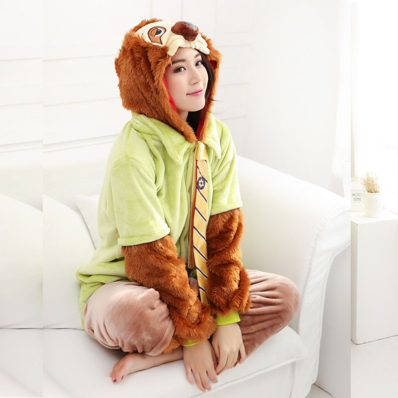 Zootopia Lightning Sloth Pajamas Animal Cosplay Costume Flannel Girls Boys Adult Pajamas Onesies Cartoon Sleepwear Sleepsuit
