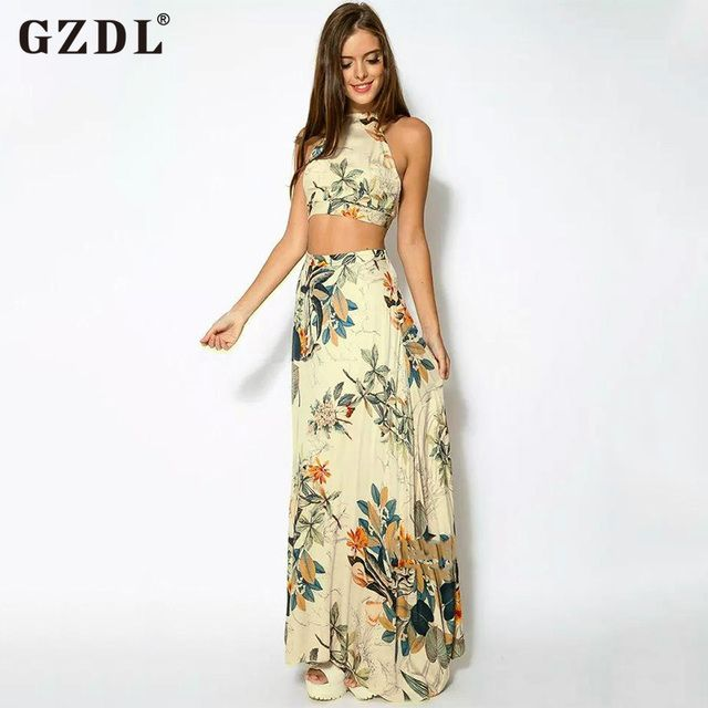 GZDL Fashion Summer Women Beach Clubwear Party 2 Piece Set Sexy Sleeveless Backless Crop Top Tank Vest Long Maxi Skirt CL2762