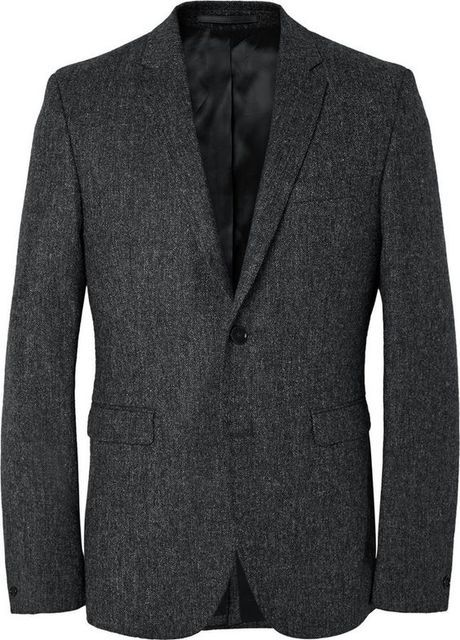 2017 Tailor Made Dark Gray Tweed Groom Blazer Slim Fit Mens Wedding Prom Suit Jacket Casual Style Blazers jaqueta masculina