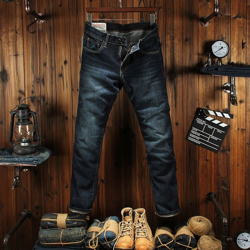 Dark Blue Classic Raw Denim Jeans Men Casual Business Pants High Quality Straight Fit Fashion Casual Men Jeans Trousers For Man