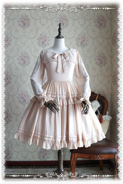 Custom Tailored Princess Sweet Lolita Dress Sailor Collar Long Sleeve Short Chiffon Lolita OP Dress by Infanta