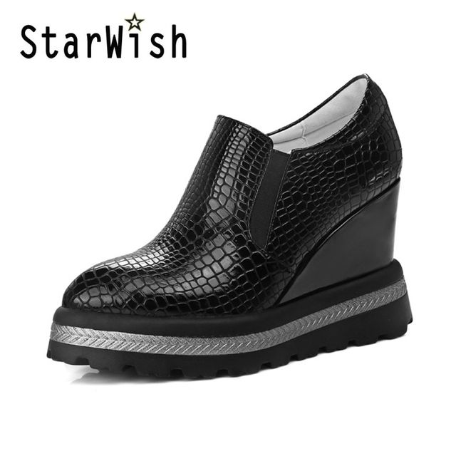 Women Pumps Wedge Platform High Heels Sexy Pointed Toe Party Shoes Woman Casual Silp On Footwear Spring Black White Shoes Women