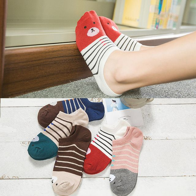 Warm comfortable cotton girl women's socks ankle low female invisible color girl boy hosier 1pair=2pcs caji20