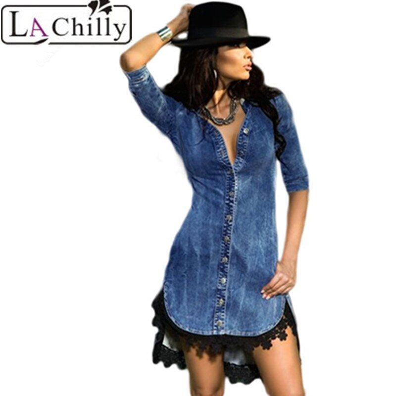 La Chilly 2018 Half Sleeve Shirt Dresses LC22439 Lace Trim Button Down Denim Shirt Casual autumn winter party Dresses Worldwide