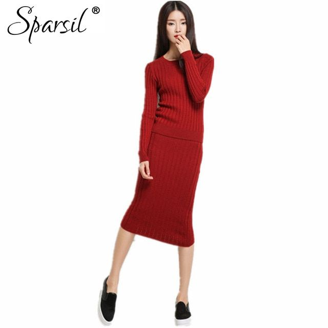 Sparsil Women Winter&Autumn O-Neck Cashmere Blend Pullover Knitted Sweater+Long Skirt Full Sleeve Slim Knitwear Sweaters 1194C58