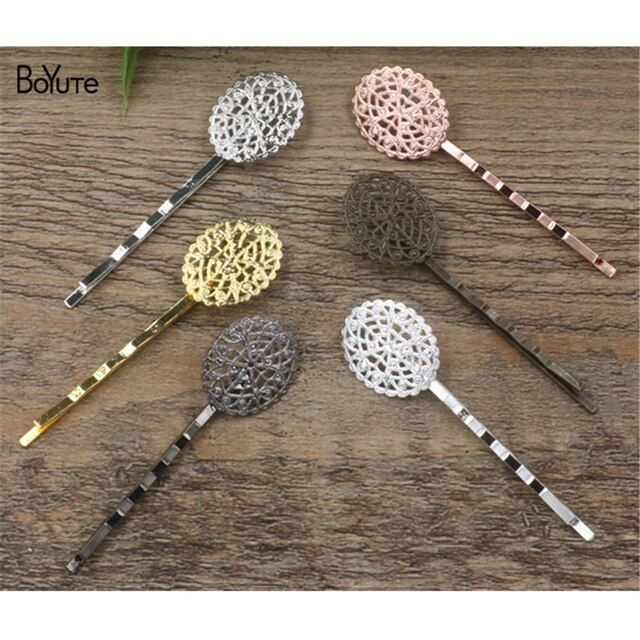 BoYuTe 20Pcs 17*21MM Filigree Oval Flower Hairpin 6 Colors Plated Women Hair Accessories