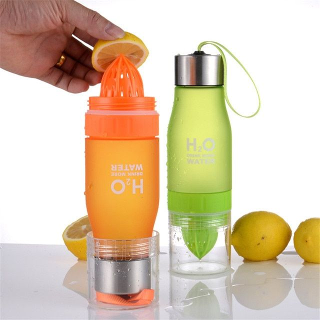 Free Shipping Lemon Water Bottle 650mL Multi Color H2O Drink More Water Drinking Bottle Protein Brief Creative Water Sports