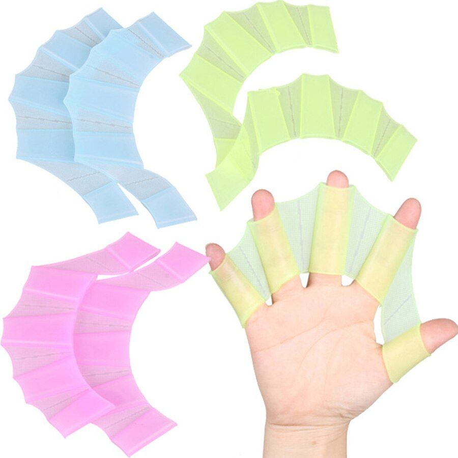 Silicone Hand Swimming Fins Flippers Swim Palm Finger Webbed Gloves Paddle S M L Paddle Improve Resistant Swim Glove Equipment