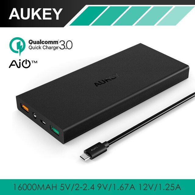 AUKEY 16000mAh Quick Charge 3.0 Power Bank Dual Port With LED AiPower Adaptive Charging Portable External Battery for Phones