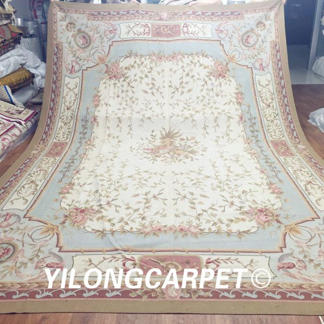 Yilong 10'x14' big hand made flat weave customized new zealand wool Aubusson carpet (Au22-10x14)