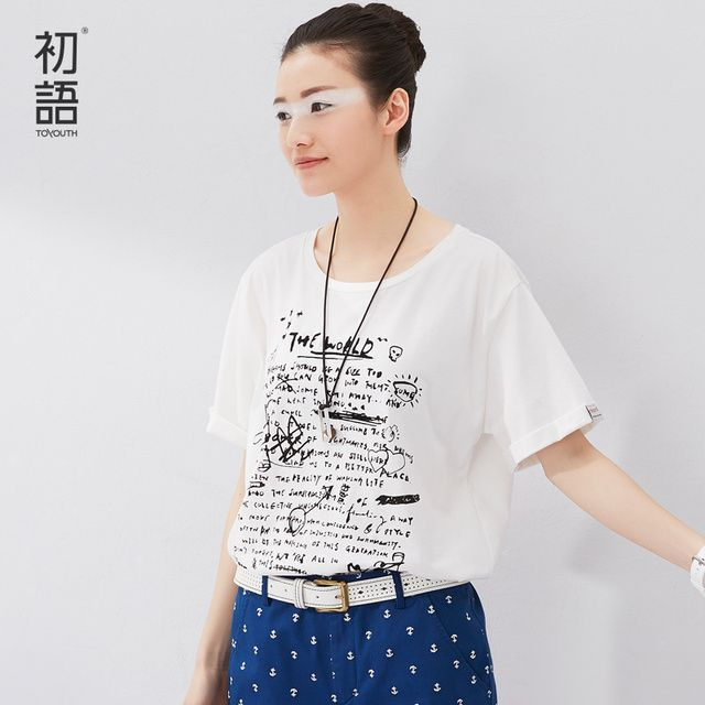 Toyouth 2017 Summer New Arrival O-Neck Loose Print Casual Women Solid Letter Fashion Short Cotton T-Shirts