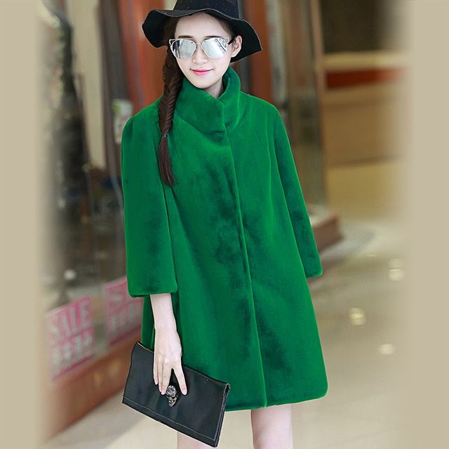 Nerazzurri Women Winter 2017 Faux Fur Coat Three Quarter Sleeve Stand Collar Green Fluffy Plus Size Artifical Mink Fur Jacket