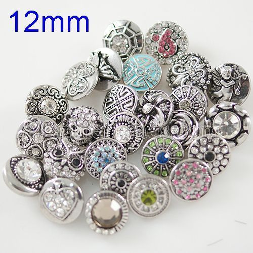 10pcs/lot New fashion 12mm mini snap button rhinestone snap  jewelry for bracelets necklace pendant jewelry KB9900-MIX-S