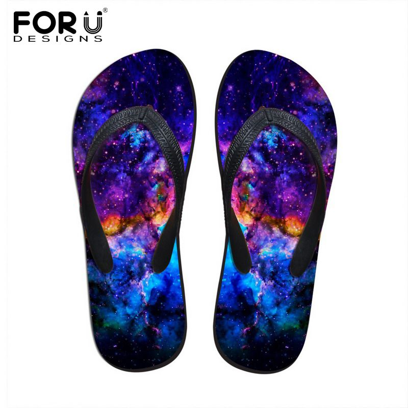 FORUDESIGNS New Summer Galaxy Men's Flip Flops Fashion Male Beach Sandals Platform Wedge Flip Flops Man Slippers Plus Size 39-44