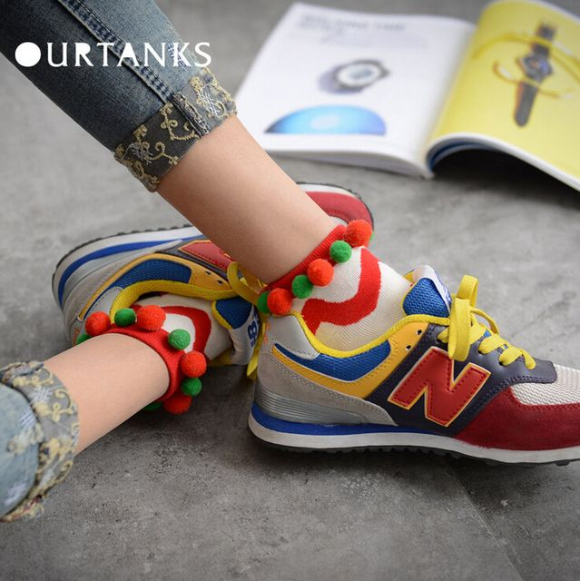 24pcs=12pair NEW women girl cotton fashion Harajuku Japanese color matching cute ripple ball ball casual short socks 24pair/lot