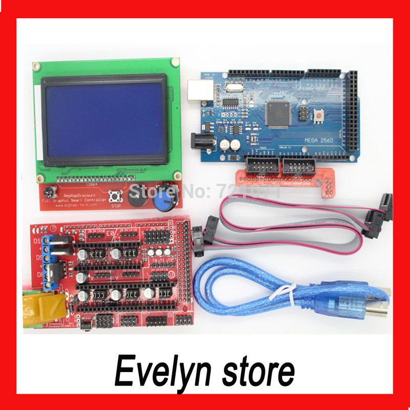 Mega 2560 R3 Mega2560 REV3 + 1pcs RAMPS 1.4 Controller + RAMPS1.4 LCD 12864 LCD for 3D Printer MendelPrusa