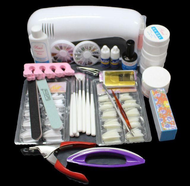FT-71 Free Shipping Pro Nail Art UV Gel Kits Tool UV lamp Brush Remover nail tips glue acrylic UW,Nail Kit