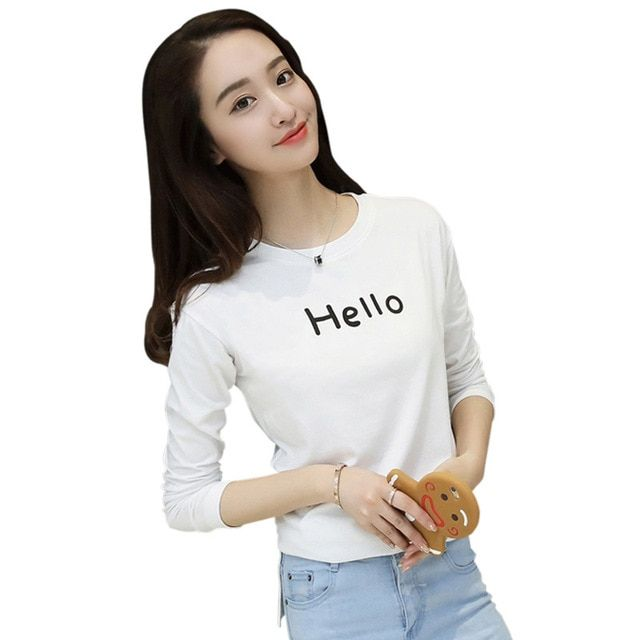 T Shirt Women Casual Fashion Women Clothes Autumn Winter Spring O-Neck Long Sleeve Cropped Cotton 4 colors  Plus Size MT071