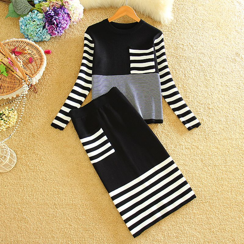 New Woman Fashion Knitting Skirt Suits 2016 Autumn Winter Long Sleeve 2 Piece Set Women Knitted Pullover Sweater And Skirts Sets