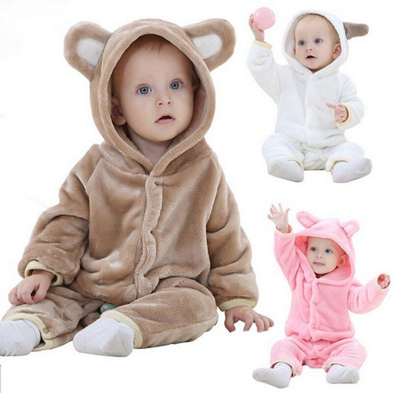 Baby Clothes Rompers Carter Coral Fleece Spring Autumn Animal Jumpsuit newborn Baby girl rompers baby boy clothes Bear romper