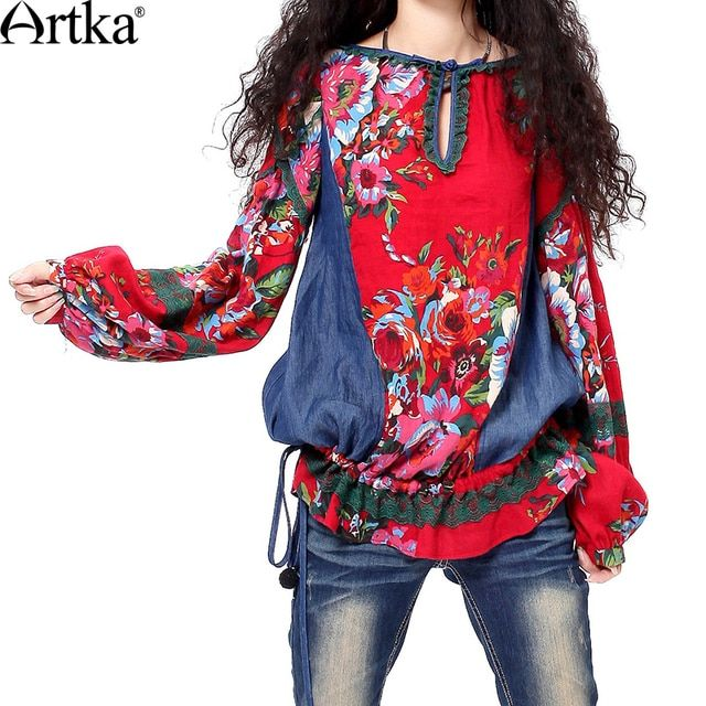 Artka Women's Spring Autumn Oriental Flower Print Denim Patchwork Lace Trimmed Handmade Frog Knot Long Sleeve Blouse SA19938C