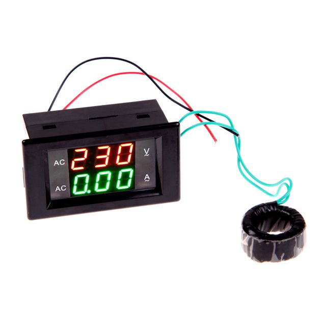 AC Digital Ammeter Voltmeter 220V Panel Amp Volt Voltage Current Meter Tester Double LED Display High Quality