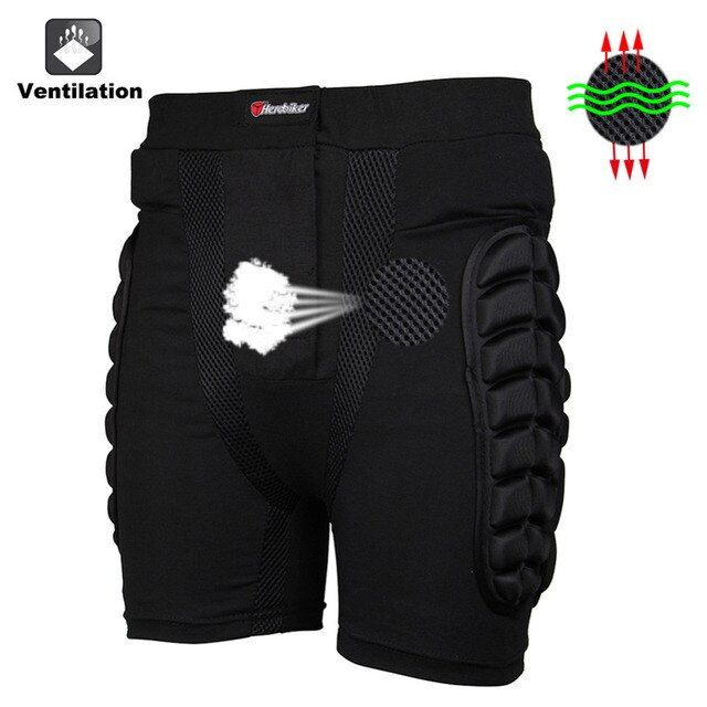 Motocross Protector Overland Motorcycle Riding Protection Hip Pad Armor Pants Leg Shorts for Skiing Racing Protective Gear Black