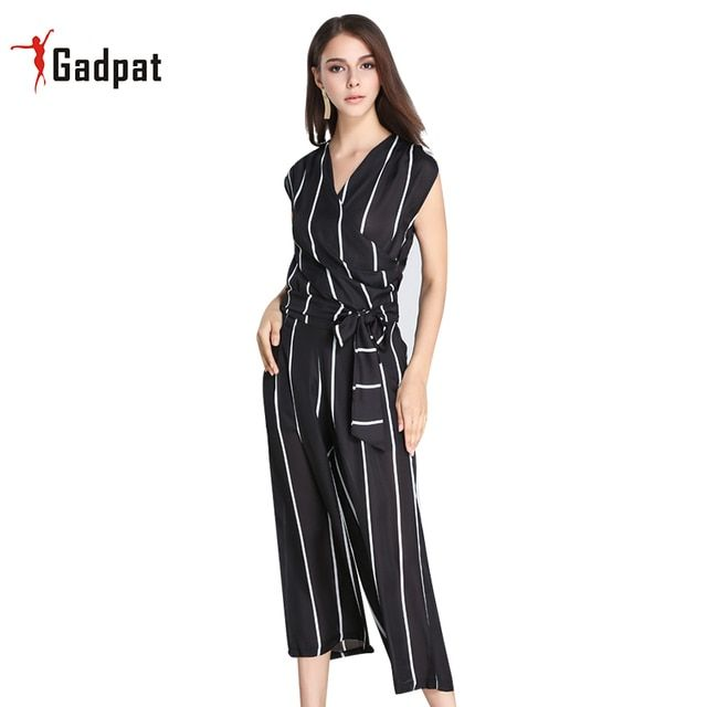 Gadpat Rompers Womens Cotton Jumpsuit Halter Wide Leg Sexy Eleganttwo Piece Tops + Pantscelebrity Summer V Neck
