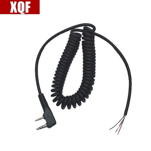 XQF DIY 4wire microphone cable K plug 2pins for kenwood wouxun baofeng puxing linton tyt quansheng walkie talkie
