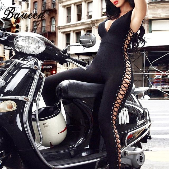 Bqueen 2017 New Fashion Deep V  Lace-up Hollow Out Sexy Bandage Jumpsuits Solid Black Full Bodysuits