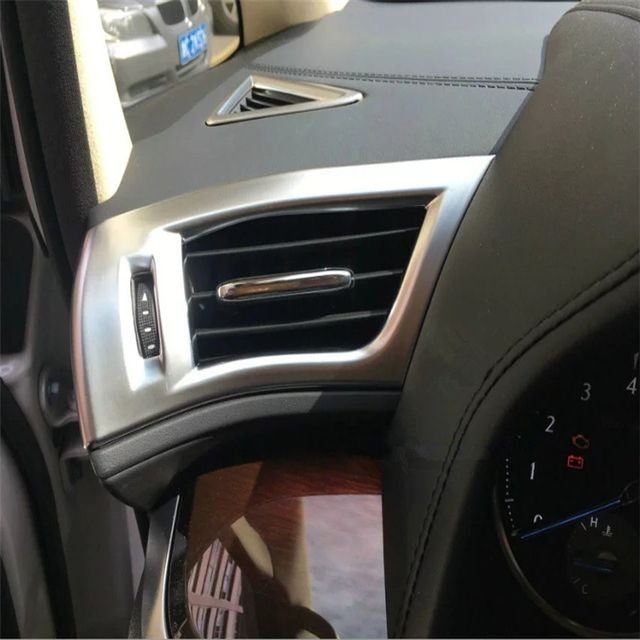 For Toyota Alphard Vellfire 2015 2016 ABS chrome front console air conditioning side outlet air vent sticker trim