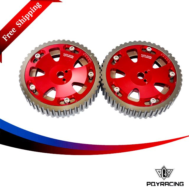 PQY RACING FREE SHIPPING - 2pcs Cam Gears Pulley For MITSUBISHI EVO 1 2 3 4 5 6 7 8 9 ECLIPSE 4G63 RED PQY6538R