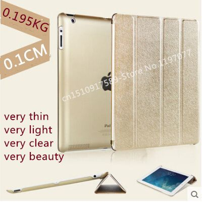 Nice quality+supper slim+transparent back+pu leather magnetic smart case for ipad 2 3 4 cover case thin slim skin shell