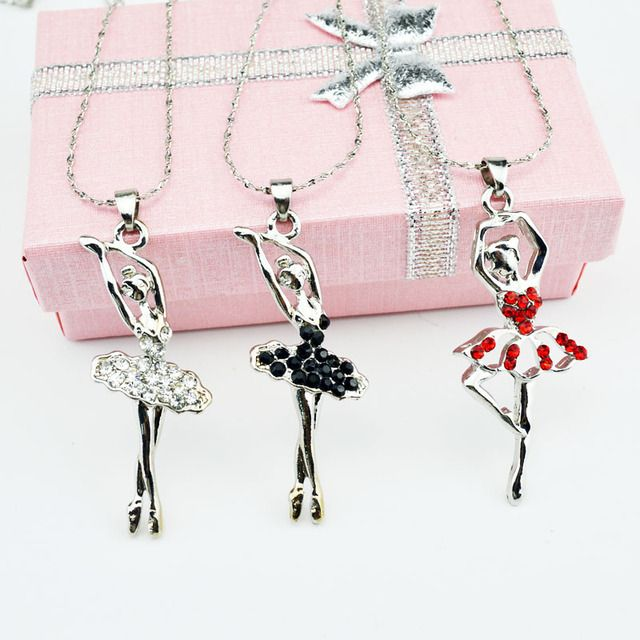 6PCS/LOT Crystal Necklace Pendant Necklace Ballet Girl Jewelry Best Friend Necklace Fashion Necklace For Women Women's Jewelry