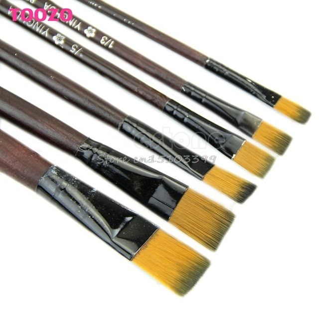 New 6 Brown Tip Nylon Paint Brushes For Art Artist Supplies G08 Drop ship