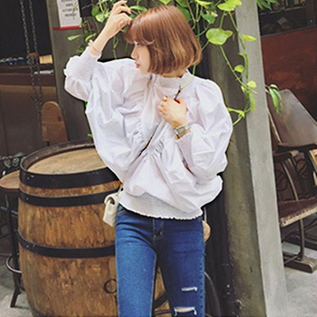Autumn Summer Tops 2016 Korean Fashion Women Stand Collar Lantern Sleeve Blouse Shirt Ladies Batwing Tops