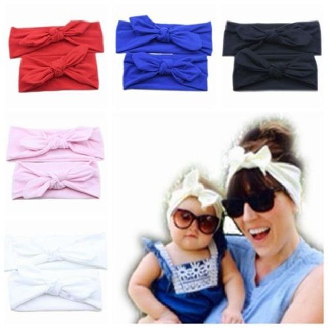 2Pc/Set Mommy and Girls Soft Cotton Rabbit Hairband Knotted Party Christmas Headband Headdress Hair Accessories