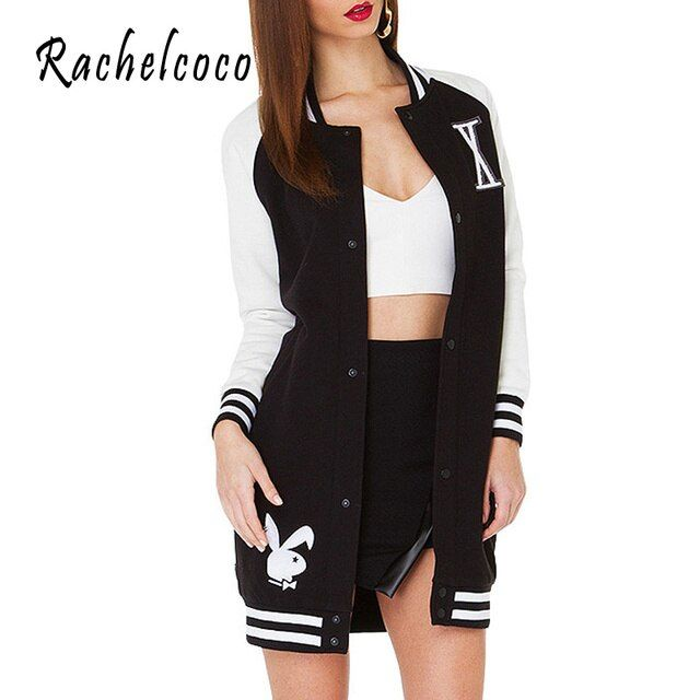 Rachelcoco 2016 New Women High Street Sweatshirt Coat Korean Baseball Style Long Sleeve Stand Collar Patchwork For Womens