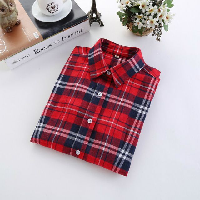 Plus Size Flannel Women Plaid Shirts 2018 New Autumn Winter Casual Slim Big Size Long Sleeve Brand  Fashion Warm Shirts Clothing