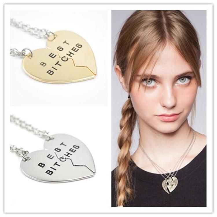 2pcs 3pcs Broken Heart Best Bitches Pendant Necklace Silver Gold Chain Statement Necklace Best Friend Forever Necklace Jewelry